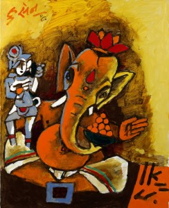 M F Husain 2008, Ganesha. Photo courtesy of Usha Mittal © Victoria and Albert Museum, London. Click on image to expand view