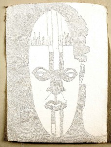 Ehikhamenor 2013: Heirloom of the Gods, nail perforations on handmade paper. 81cm x 58cm approx. Photo: GAFRA