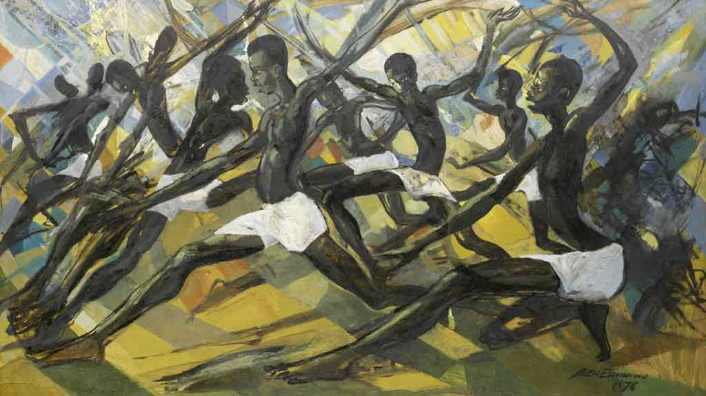 Ben Enwonwu 1967: <em>Princes of Mali,</em> oil on board, 68.5cm x 121.5 cm, which sold at Bonhams on 21 May 2014 for GBP 92,500, the most valuable picture in the sale