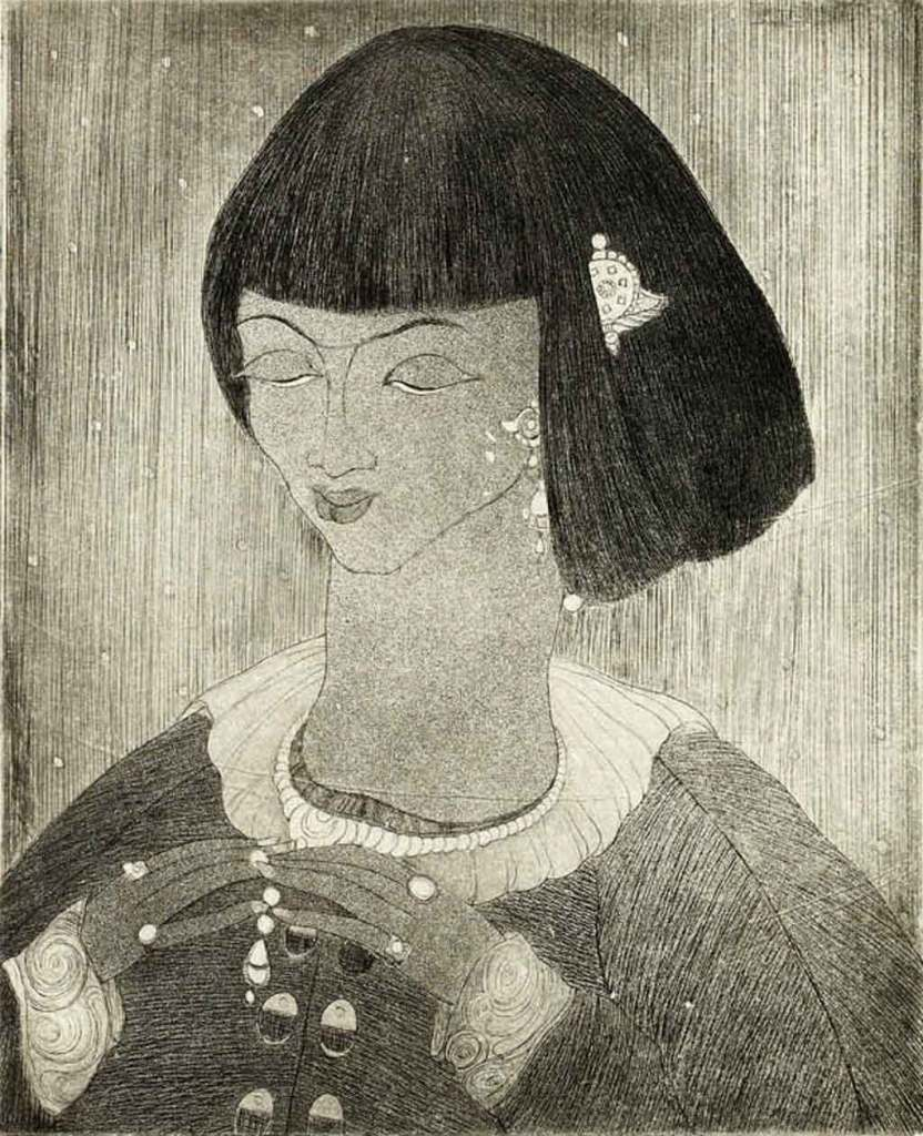 Chughtai undated:  Chinese girl, etching on paper, 27.7 x 22.5cm