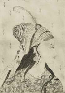 Chughtai undated: Mughal Princess, etching on paper