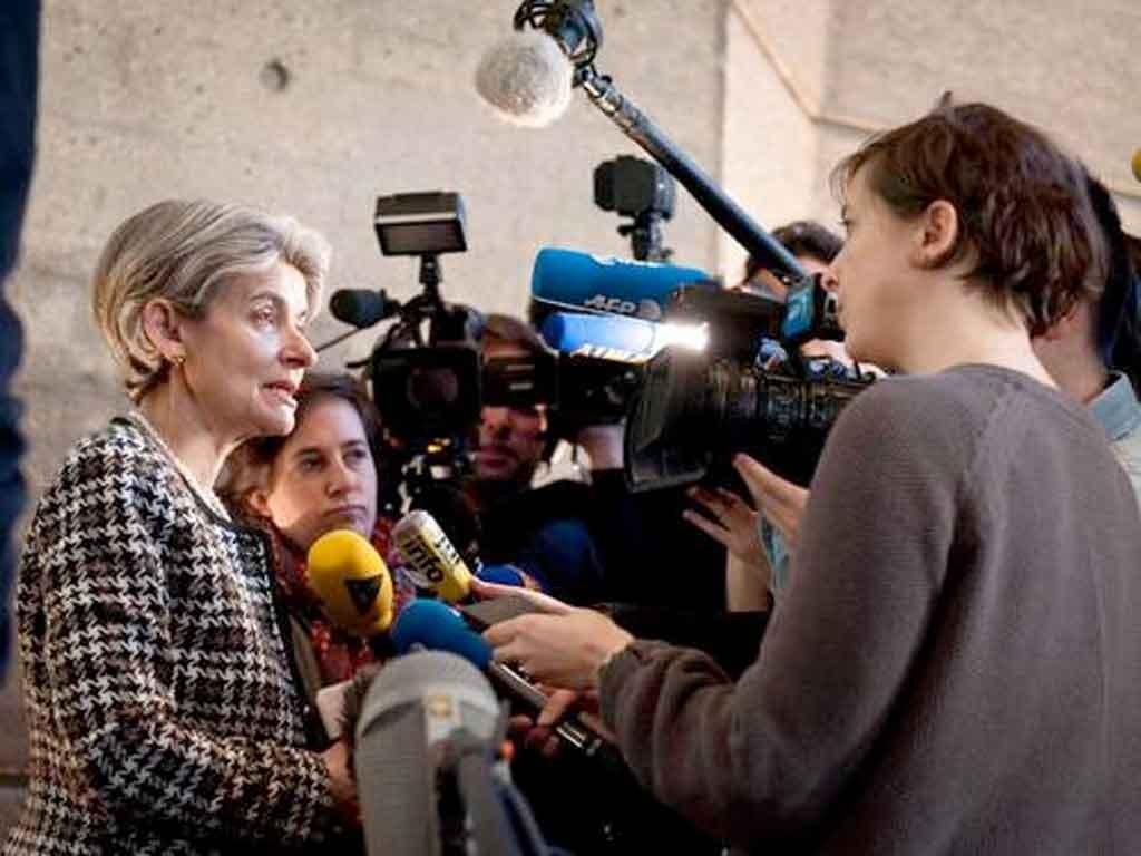 Irina Bokova at the UNESCO press conference. Photo: UNESCO/N. Houguenade