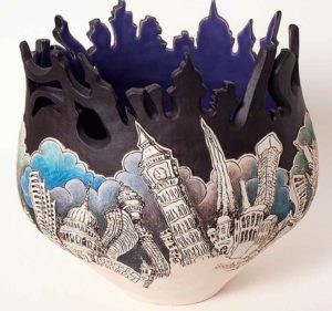 Sarah E Choi 2016, stoneware featuring London, multiple firings
