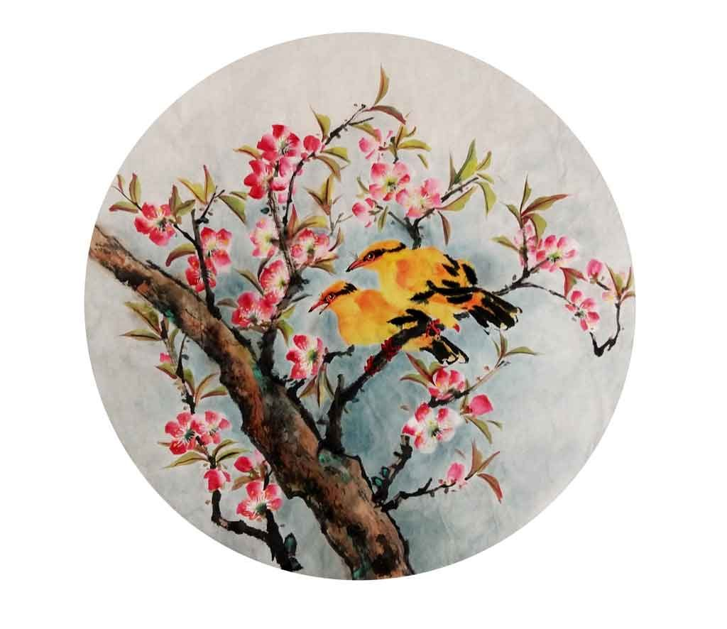 Yuet Yean Teo 2016: Spring, Chinese ink on xuan rice paper, 45cm diameter